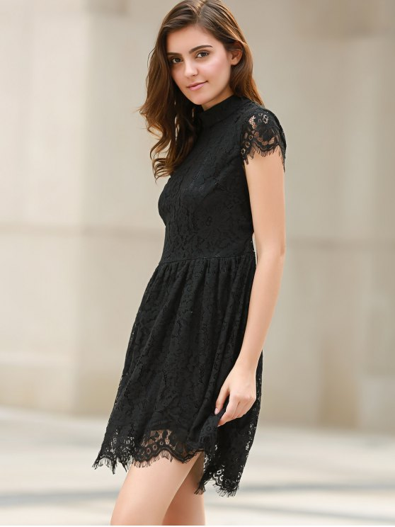 Black Lace Short Sleeve Backless Dress - BLACK XS Mobile