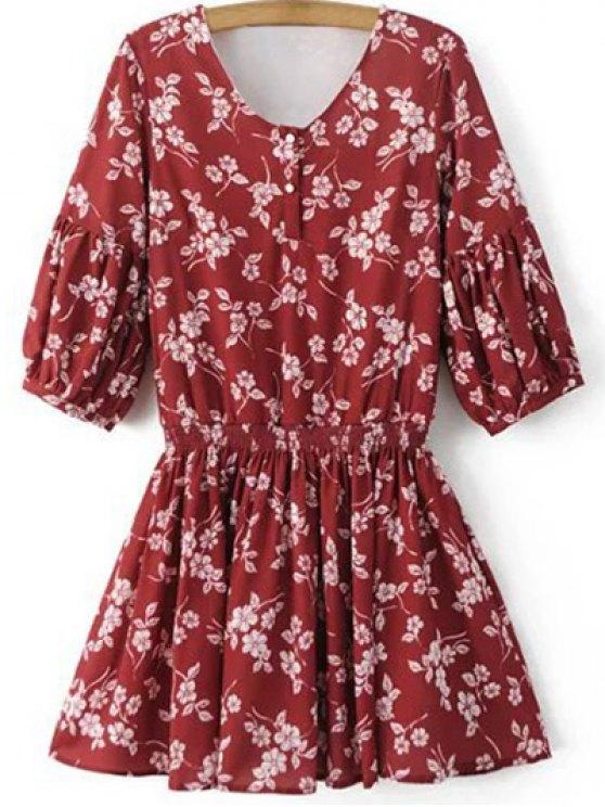 La mitad de vestir de manga V Cuello floral - Rojo L
