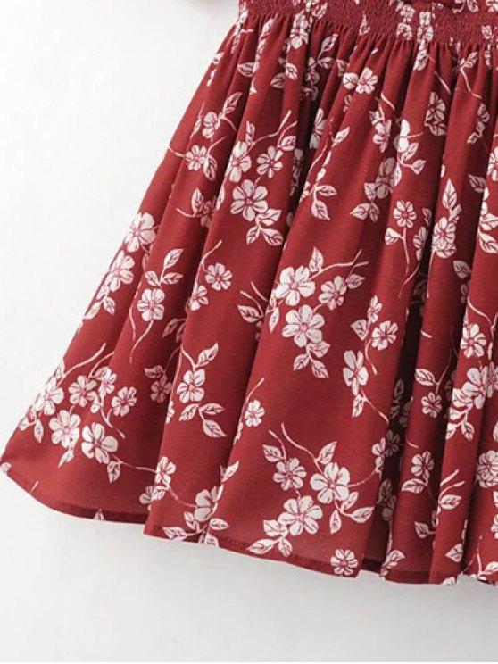 Floral V Neck Half Sleeve Dress - RED L Mobile