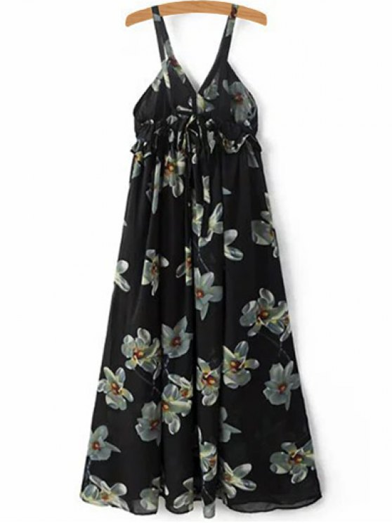 fashion Floral Print Cami A-Line Dress - BLACK M