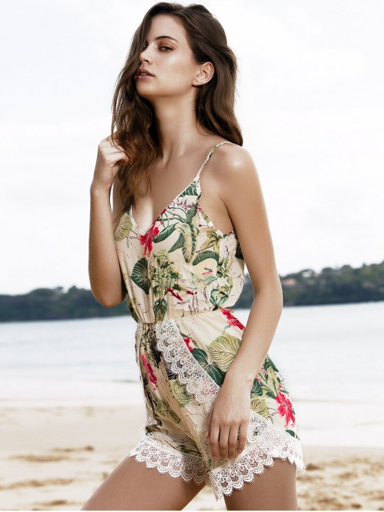 Spaghetti Strap Tropical Print Playsuit - COLORMIX XL Mobile