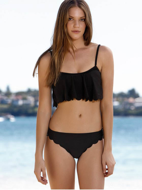 latest Black Cami Ruffles Bikini Set - BLACK XL