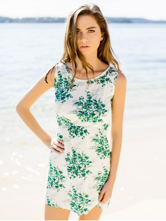 Flower Printed Waisted Mini Dress - GREEN M Mobile