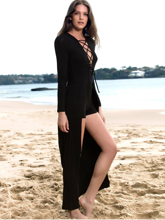 Lucky Lace-Up Layered Romper - BLACK M Mobile
