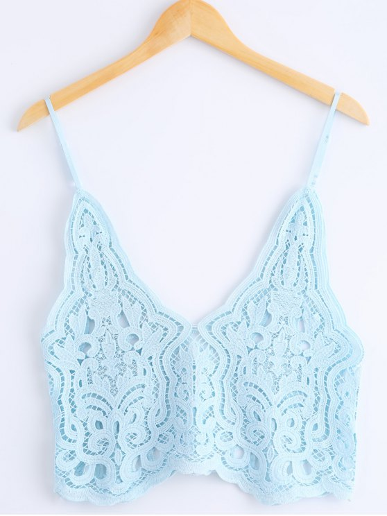 Knitted Spaghetti Straps Tank Top - AZURE ONE SIZE(FIT SIZE XS TO M) Mobile