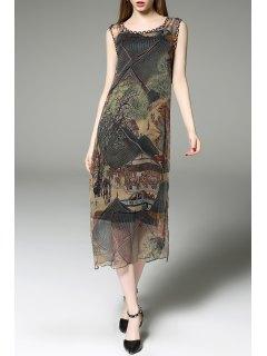 Printed Midi Vintage Dress With Tank Top - S