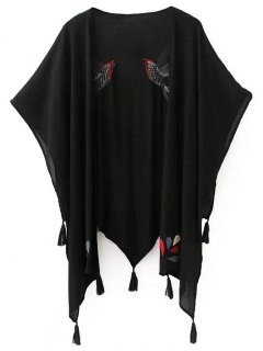 Bird Embroidery Half Sleeve Kimono Blouse - Black L