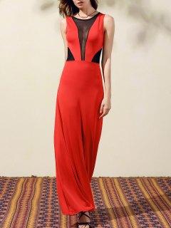 Sheer Mesh Paneled Prom Dress - Red M