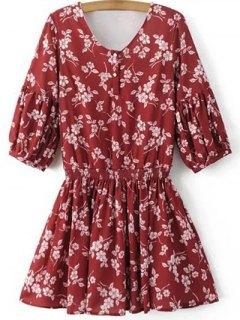 Floral V Neck Half Sleeve Dress - Red L