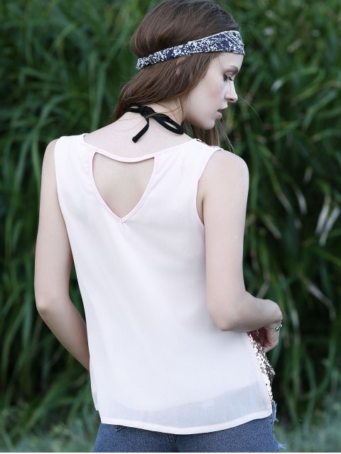 latest Sequin Spliced Cut Out Round Neck Tank Top - PINK L Mobile