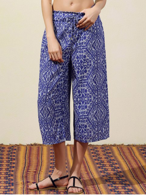 women Blue Vintage Print Wide Leg Pants - BLUE S Mobile