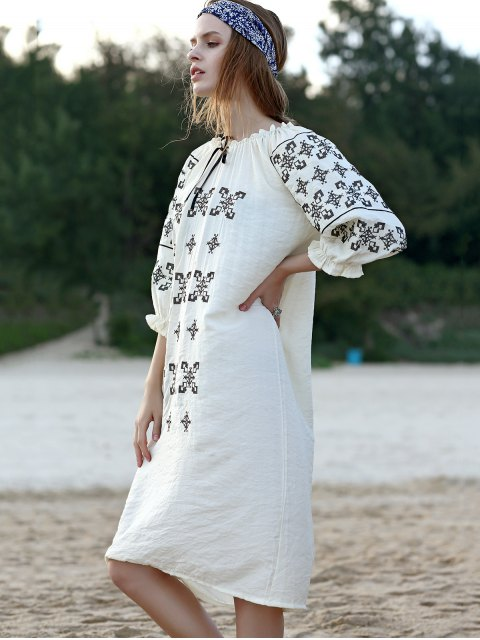 outfits Slash Neck Embroidered Dress - WHITE ONE SIZE(FIT SIZE XS TO M) Mobile