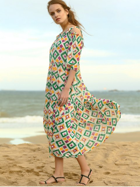 chic Cold Shoulder Midi Swing Dress - COLORMIX S Mobile