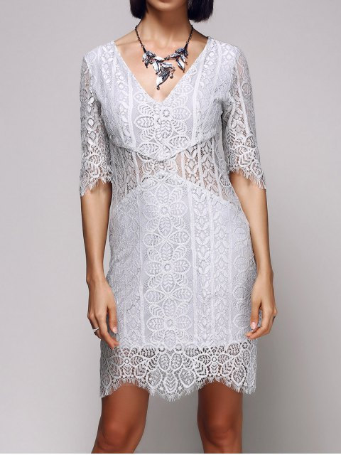 affordable V-Neck Bodycon Lace Dress - LIGHT GRAY M Mobile