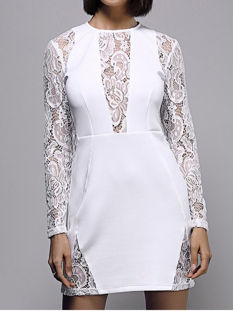 chic White Lace Spliced Round Neck Long Sleeve Dress - WHITE L Mobile