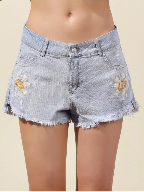 online Embroidered Frayed Denim Shorts - LIGHT BLUE L Mobile