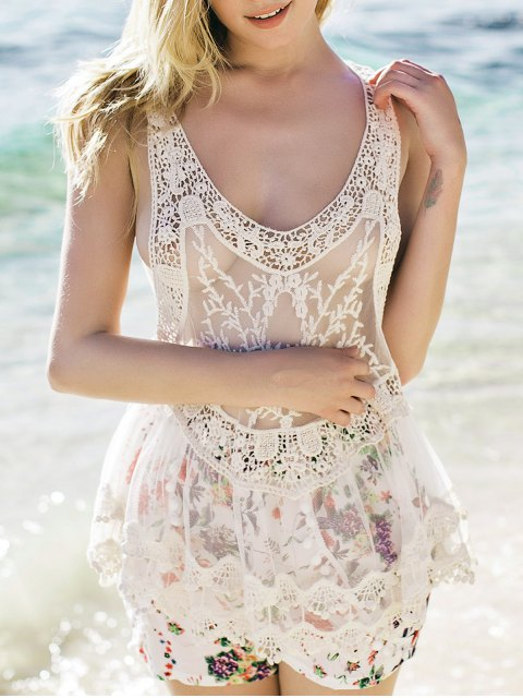 chic Sheer Crochet Tank Top - WHITE ONE SIZE Mobile