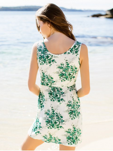 latest Flower Printed Waisted Mini Dress - GREEN M Mobile