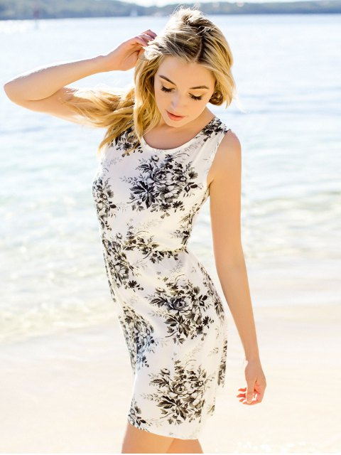 fancy Flower Printed Waisted Mini Dress - DUN M Mobile