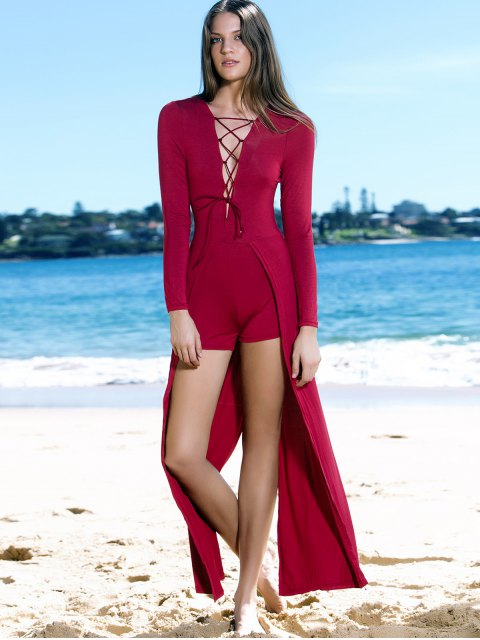 hot Lucky Lace-Up Layered Romper - WINE RED L Mobile