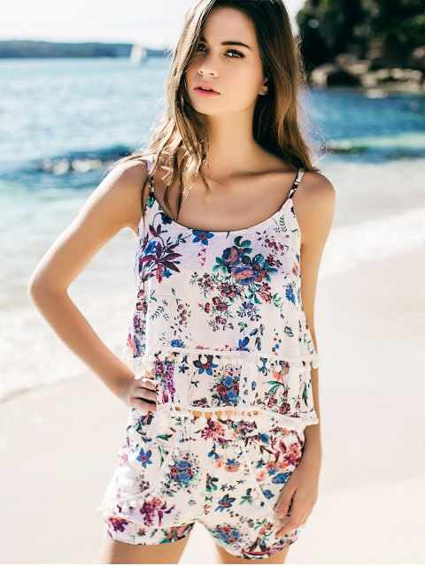 affordable Fashion Floral Print Layered Cami Top and Shorts - BLUE S Mobile