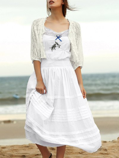 Embroidered Cami Ethnic Dress + Lace Blouse Twinset - White