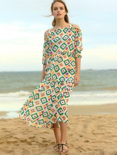 Cold Shoulder Colored Dress - COLORMIX M Mobile