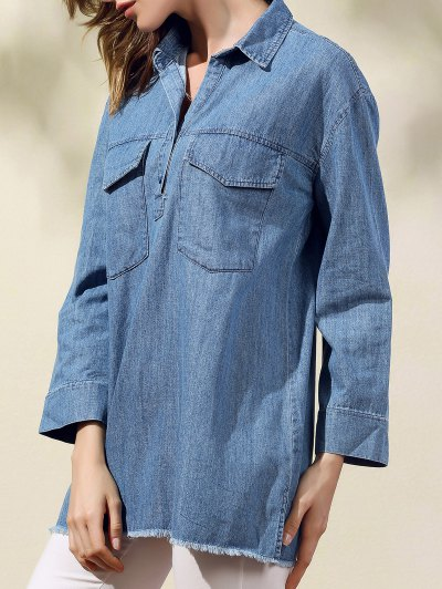 Two Pockets Oversized Denim Shirt - BLUE S Mobile