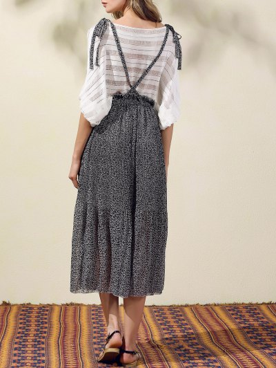 Back Criss-Cross Printed Suspender Skirt - BLACK L Mobile