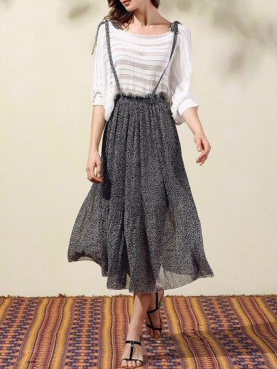 Back Criss-Cross Printed Suspender Skirt - Black