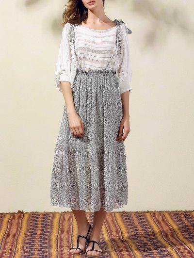 Back Criss-Cross Printed Suspender Skirt - GRAY L Mobile