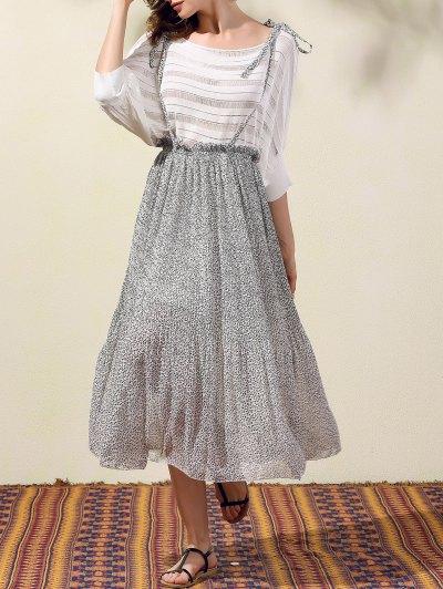 Back Criss-Cross Printed Suspender Skirt - GRAY S Mobile