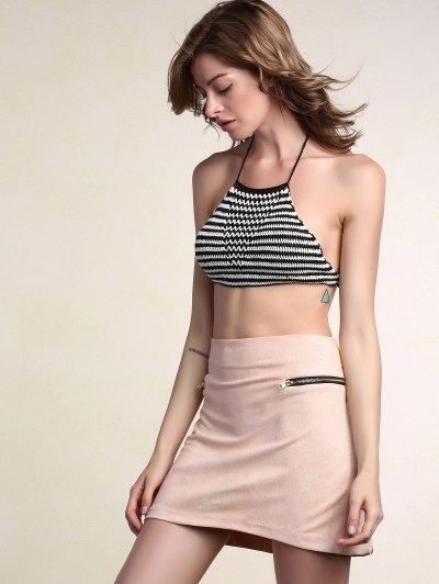 Suede Zipper Embellished Mini Skirt - PINK XL Mobile