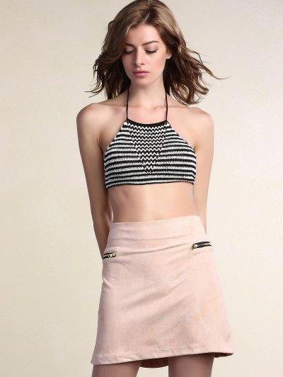 Suede Zipper Embellished Mini Skirt - PINK L Mobile