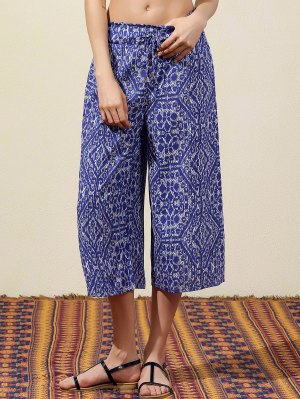 Blue Vintage Print Wide Leg Pants - Blue