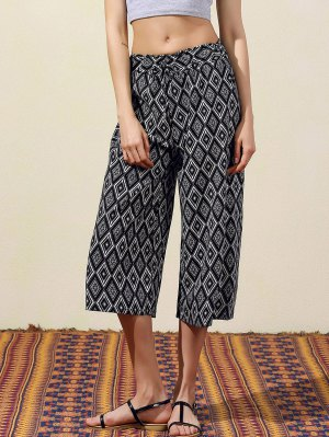 Argyle Print Wide Leg Capri Pants - Black