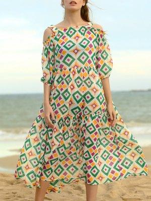 Cold Shoulder Midi Swing Dress