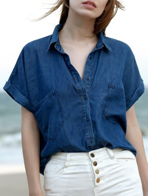 Pockets Shirt Collar Short Sleeve Chambray Shirt - Blue