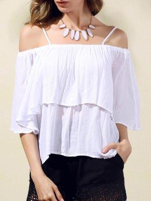 Flounce Cami Cold Shoulder Blouse - White
