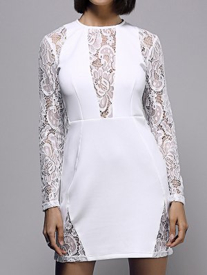 White Lace Spliced Round Neck Long Sleeve Dress - White