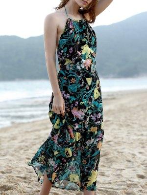 Hawaiian Backless Flower Print Cami Sleeveless Dress - Green