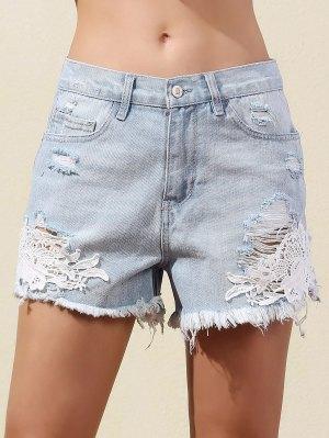 Lace Splice Straight Leg Denim Shorts - Light Blue