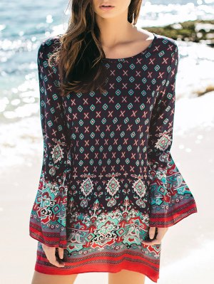 Stylish Round Neck Long Sleeve Printed Peasant Dress - Purplish Blue