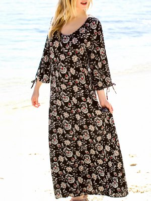 Floral Print Allover Maxi Dress - Black