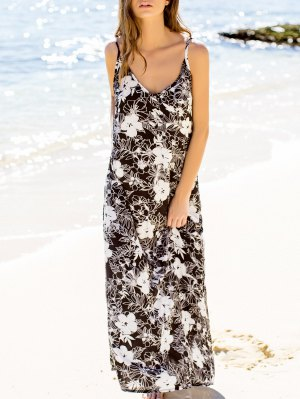Low Cut Print Maxi Strap Dress - Black