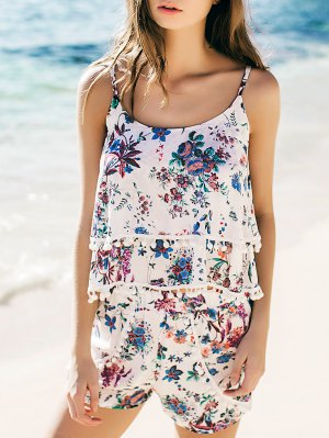 Fashion Floral Print Layered Cami Top And Shorts - Blue