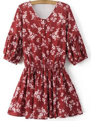 Floral V Neck Half Sleeve Dress - Red