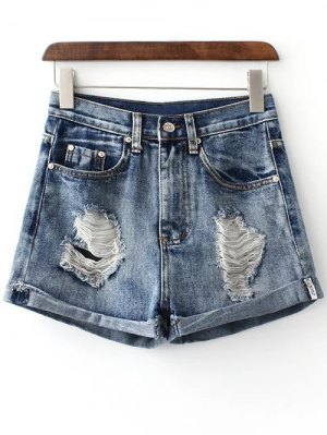 Hole Hemming Denim Shorts - Deep Blue