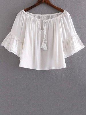 Lace Splice V Neck Half Sleeve Blouse - White