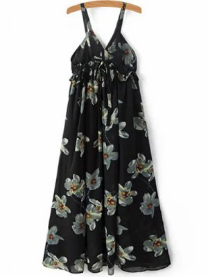 Floral Print Cami A-Line Dress - Black